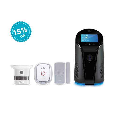 Qubo smart indoor camera with complete security kit.